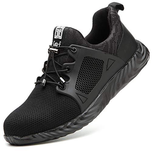 COOU Arbeitsschuhe Herren S3 Leicht Comfort Sicherheitsschuhe rutschfest Sportlich Jogger Sneaker für Frauen Männer