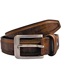 POLO INTL Men's Leather Belt (Light Brown, 32 inches)