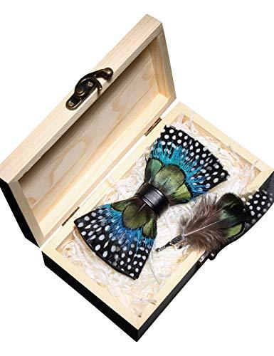 JEMYGINS Handgemacht Hochzeit Party Leder Fliege Feder Fliegen mit Geschenkbox Set für Herren (15), schwarz gepunktet/Feder gruen/blau