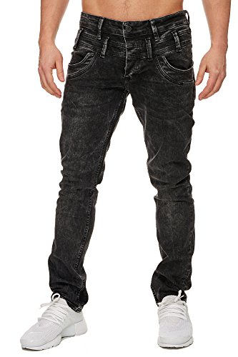 TAZZIO Slim Fit Herren Stretch Jeans Hose Denim 16535 schwarz 32/32
