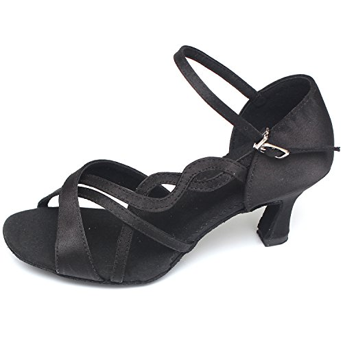 Oasap Women's Peep Toe Medium Heels Ankle Strap Latin Dance Shoes Black