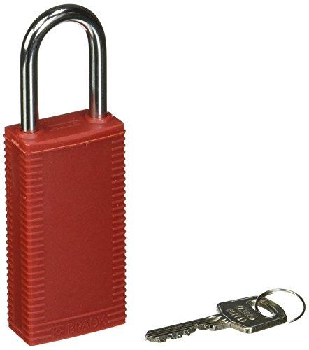 "Brady 123396bloqueo candado, llave diferentes, 1/4"", rojo"