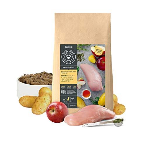 Hundefutter trocken kaltgepresst 5 kg | Premium-Qualität | Huhn mit Kartoffel, Apfel und Gartenkräuter | Sensitiv Trockenfutter für Hunde | 80{f59d5071ae979896dfbfac40477db5260f5e853355dc98dc364e0344f74262c8} Fleischprotein, getreidefrei und ohne unnötige Zusätze
