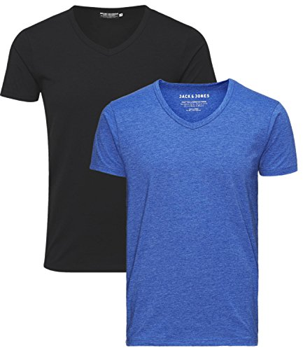 JACK & JONES Herren V-Neck T-Shirt Basic 2er Pack schwarz/surf the web