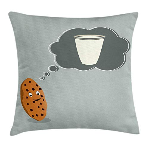 HLKPE Cookie Throw Pillow Cushion Cover, Smiling Cookie Thinking of Milk in a Glass Daydreaming, Decorative Square Accent Pillow Case, Grey Teal Ivory Amber and Pale Taupe,22 X 22 Inches - Amber Kings Crown