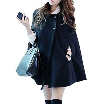 Desshok Women Loose Sleeveless Batwing Poncho Cloak Cape Buttoned Warm Coat Top Jacket Winter