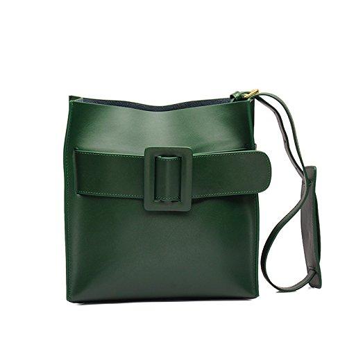 Mefly La Nuova Borsa In Pelle Semplice Ladies Sacchetta Kaki Verde Blackish green