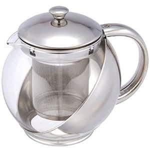 Théière/cafetière/théière en verre et acier inoxydable avec filtre en inox - 750 ml