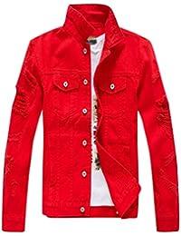YiiJee Uomo Sottile Giacca di Jeans Retro Denim Cappotto Classico Giacchetta b84f1803cc9
