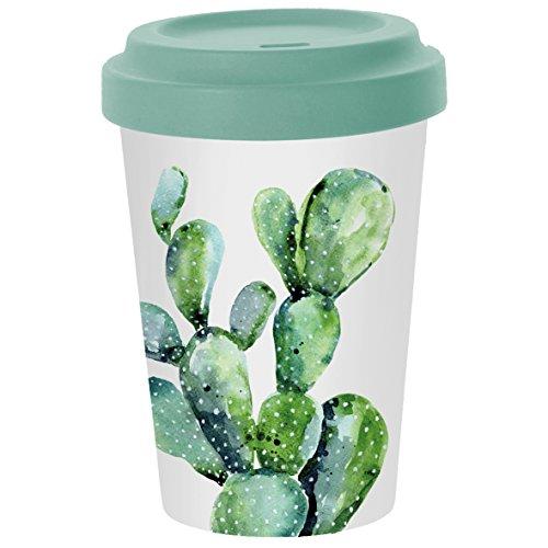 PPD Cactus Bamboo Coffee-To-Go Becher, Kaffeebecher, Pappbecher, Trinkbecher, Bambus-Silikon, Weiß...