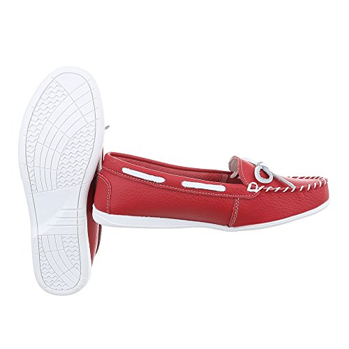 Ital-Design Chaussures Femme Mocassins Plat Mocassins rouge 8118