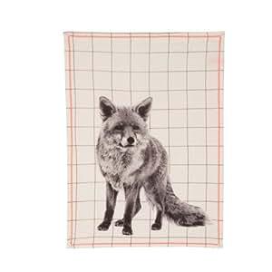 PT pt3066-strofinaccio en coton, motif: renard, avec coutures, couleur: rose fluo