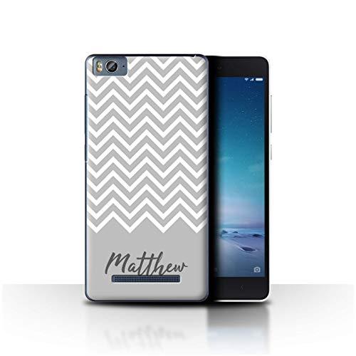 eSwish Personalisiert Individuell Handschrift Chevron Streifen Hülle für Xiaomi Mi 4C / Grau Design/Initiale/Name/Text Schutzhülle/Case/Etui