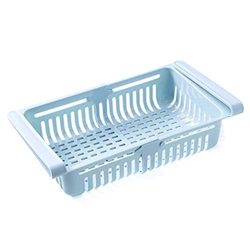 Unityoung Kühlschrank Behälter Box, Einziehbar Schublade Typ Lebensmittel Obst Organizer Korb Kühlschrank Aufbewahrung Behälter - Blau -