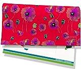 Porte-chéquier portefeuille femme Motif Fleurs fond rouge Réf. 4046