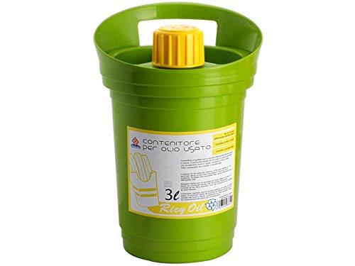 Home Ricy Oil, Contenitore per Olio Esausto, Plastica, Verde, 19x20xH28 cm, 3 L