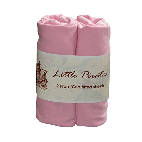 Little Pirates Spannbetttuch für Babybett, 100 % Baumwolle, Jerseystoff, 40 x 90 cm, Rosa, 2 Stück