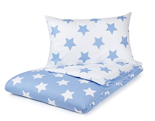 Single Duvet Cover Set, Blue with White Stars