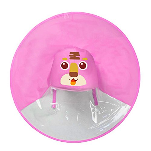 Regenponch, Kind Regenjacke Netter Regenmantel Junge Mädchen Regenkleidung Regen Mantel Kinder Regenschirm Hut UFO Headwear Regenschirm Hut Poncho Regencape (Mantel Erwachsene Regen Für Rosa)