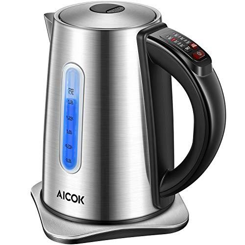 Aicok Wasserkocher mit Temperatureinstellung und Warmhaltefunktion (2 Stunden), 1,7 Liter Wasserkocher Edelstahl mit LED Beleuchtung und Kalkfilter, Automatischer Abschaltung, BPA Frei, 2200W