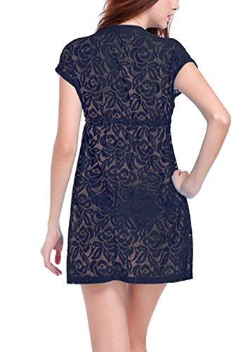 Sexy V-Ausschnitt Lace Mini Strand Kleid Damen Black