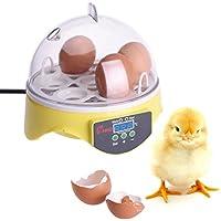 Mini Motorbrüter Inkubator, HimanJie Vollautomatische Brutmaschine, Motorbrüter Hühner, Brutapparat mit LED Temperaturanzeige und Temperaturfühler, für 7 Hühnereier (Weiß-1)