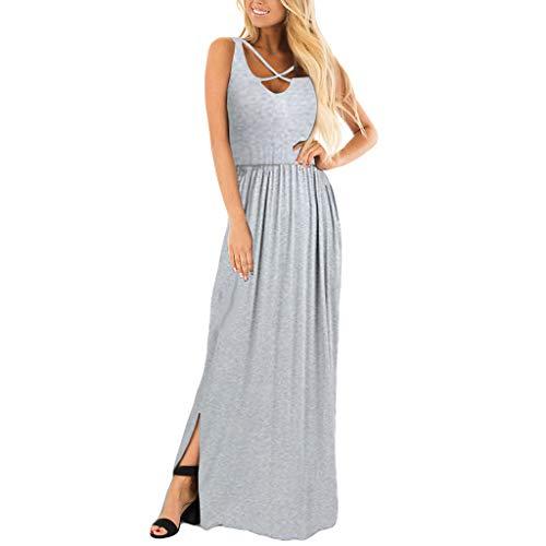 Damen Sommerkleid Rosennie Damen Sexy Langes Kleid Spaghetti Strap Chiffon Strandkleid Knöchellang Kleid Frauen Reizvolle ärmellose V-Ausschnitt MaxiKleid Einfaches ()
