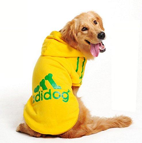 Costume felpa gialla con cappuccio Adidog per cane e gatto taglia XXL