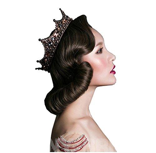 idealway Vintage Luxuriöse Brautschmuck handgefertigt Spitze Schleier Haar Clip Kristall Perle King Queen Krone Zubehör (Krawatte Clip Vintage)