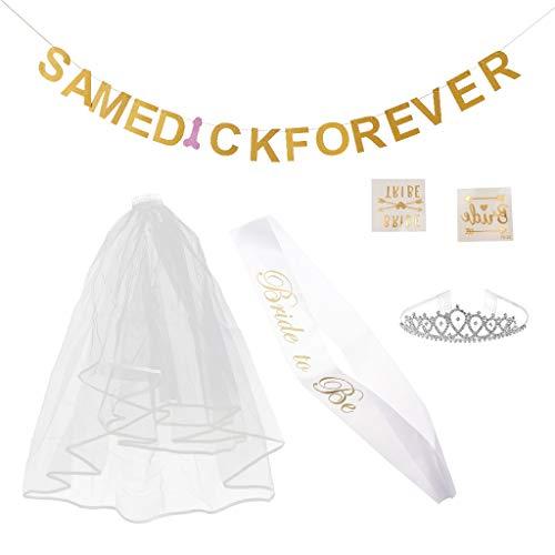 Baoblaze Brautparty Set inkl. Same Dick Forever Banner Girlande + Bride to be Schärpe + Spitze Schleier + Krone + Tattoo Sticker