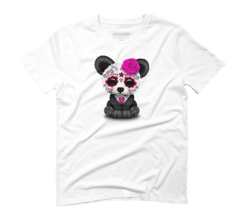 Pink Day of the Dead Sugar Skull Panda Men's Graphic T-Shirt - Design By Humans White