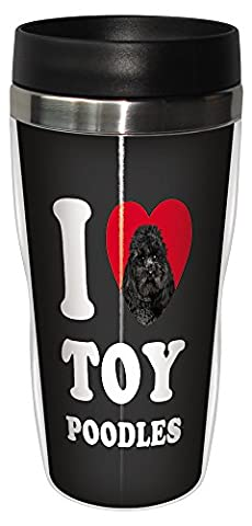 Tree-Free Greetings SG25134 I Heart Toy Poodles Sip 'N Go Stainless Lined Travel Tumbler, 16-Ounce by Tree-Free Greetings