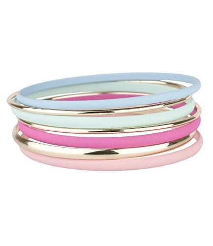 SIX 'Trend' Set aus 7 verschiedenen Arm Reifen in Pastell Tönen rosa, pink, hell blau, mint, gold, Damen Armband, Armschmuck, kombinierbar...