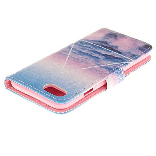 MOONCASE iPhone 7 Étui, [Colorful Feather] Bookstyle Étui Housse en Cuir Case à rabat Coque de Protection Portefeuille TPU Case avec Carte de Crédit Fentes Béquille pour iPhone 7 4.7 Inch(2016) Blue Sky