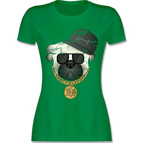 Hunde - Bad Boy Mops Vintage - tailliertes Premium T-Shirt mit Rundhalsausschnitt für Damen Grün