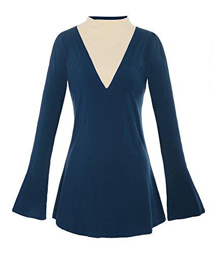 ReliBeauty Femme – Tunique Tops à Manches Cloches – Haut à Col cheminé – T-Shirt Basique Manches Longues – Mini Robe Automne Bleu canard