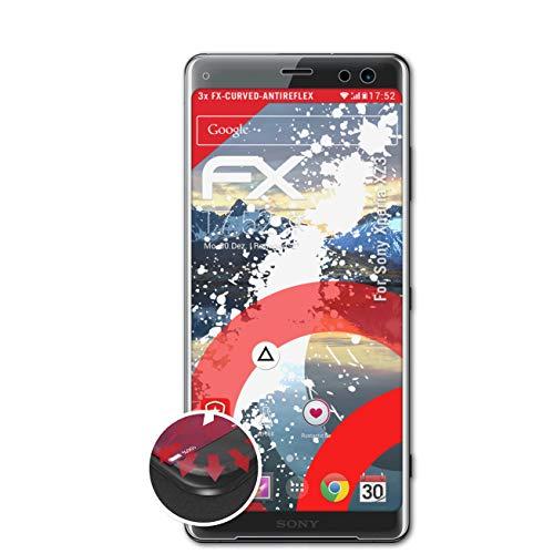 atFolix Schutzfolie passend für Sony Xperia XZ3 Folie, entspiegelnde & Flexible FX Bildschirmschutzfolie (3X)