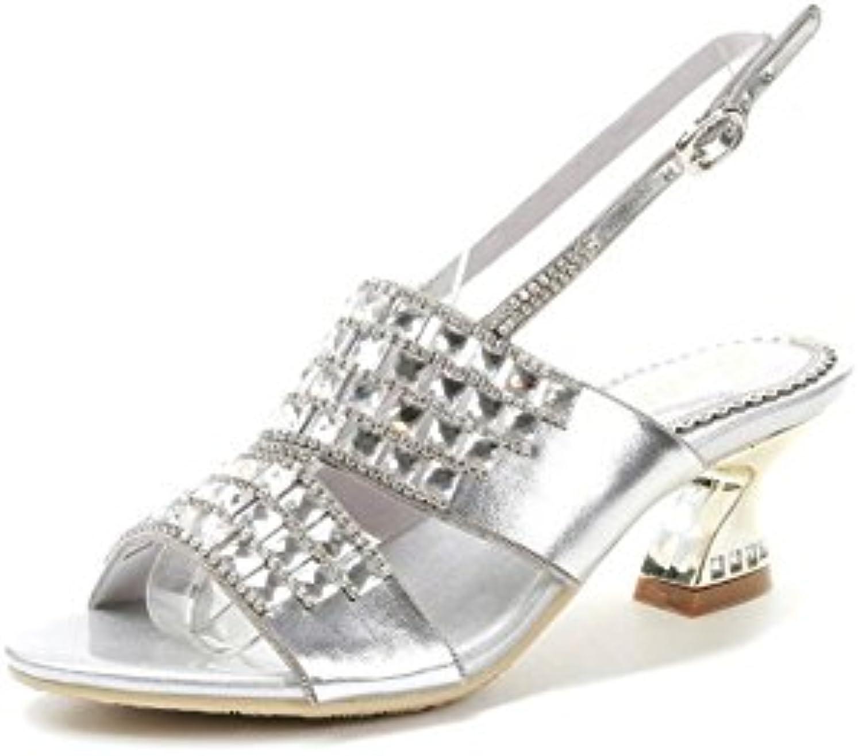 NVXIE Zapatos de mujer Sandalias Cuero Nupcial Boda Diamante de imitación Diamante Banquete Fiesta Nocturna Club nocturno Resplandecer Cristal Vestir Plataforma Tacón de aguja Zapatillas Tamaño 35 a 42 , green , EU42 EU42|green