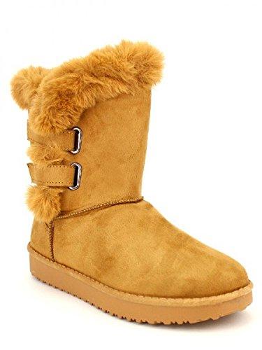 Cendriyon, Boots Camel Fourrées ILLS Chaussures Femme Caramel