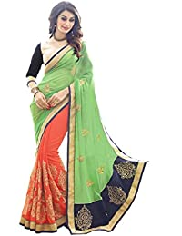 Florence Women's Green & Orange Georgette Embroidery Party Wear Saree With Unstitched Blouse