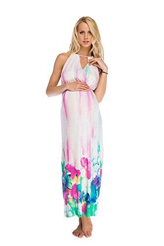 Mutterschafts Kleid Umstands Kleid Stillkleid Eva lang Blumen S (small) Umstandsmode von MY TUMMY ®©™ (Runde-hals-mutterschaft-kleider)