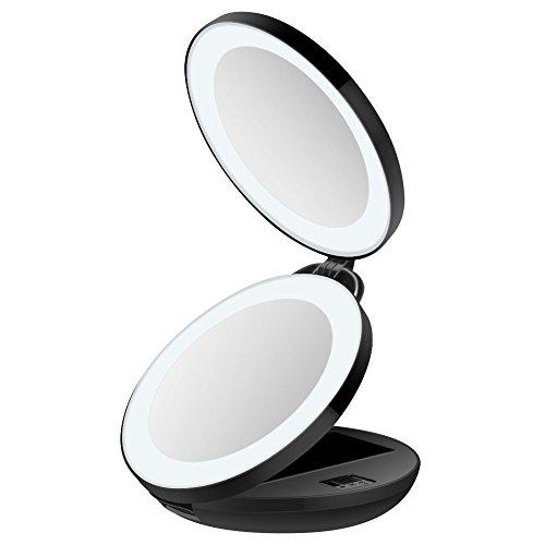 Tragbarer Reise Make-up Spiegel, 16 LED Beleuchteter Spiegel, 1x und 10x Vergrößerung, beleuchteter schwarzer Kompaktspiegel.Unodeco U033