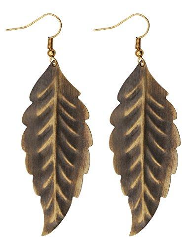 SouvNear set di 2foglie pendenti orecchini coppia in ottone anticato, Vintage Donna Accessori di moda regalo per lei