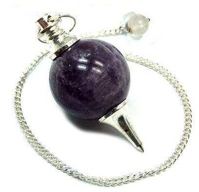 Excel Healing Purple Amethyst Healing Good Quality Gemstone Ball Dowsing Reiki Crystal Bead Chain Pendulum