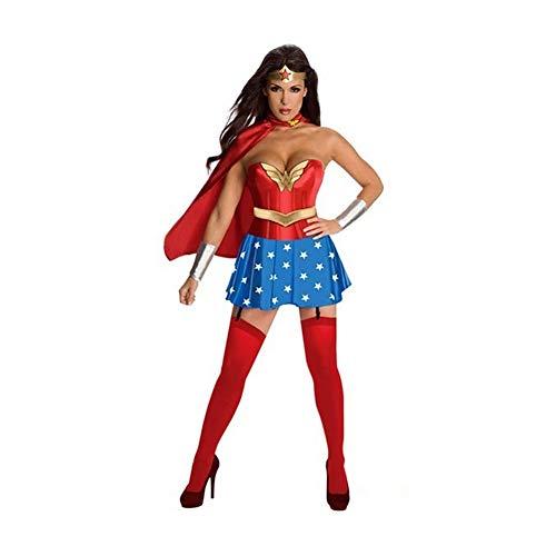 (YaXuan Klassische Frauen Rollenspiel, Wonder Woman Strampler Kostüm Halloween-Kostüm Hen Night Party Weihnachtsfeier (Farbe : 1, Größe : L))