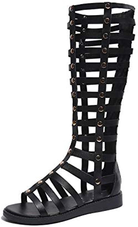 98aa1e0a63ec81 des agents femmes femmes femmes summer open toe réseau tissé de sandales  hautes bottes de bottes de romain croix plats rivet des chaussures pour  femmes ...