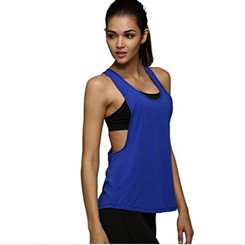 Sport Tank Tops ☀️ EUZeoMujer Verano Camiseta Tirantes Deporte de Gimnasio Sueltas Formación Ejecutar Camiseta sin Mangas Mujer Chaleco Fitness para Correr (XL, Azul)