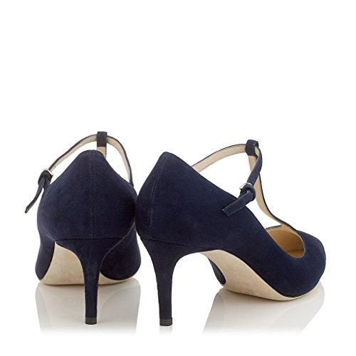 EDEFS- Femme Escarpins - Kitten-Heel - Noir - T-Bar - Classique Chaussures Femme - Bout Fermé Bleu Marin