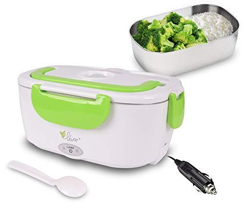 Fiambrera eléctrica comida térmico Lunch Box Fiambreras bento Uso en coche eléctrica con Bandeja extraíble acero inoxidable Recipiente de comida térmico 12V (verde, 12V para coche)