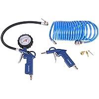 WELDINGER Kompressorzubehörset Druckluftset 6 Teilig Reifenbefüller Spiralschlauch